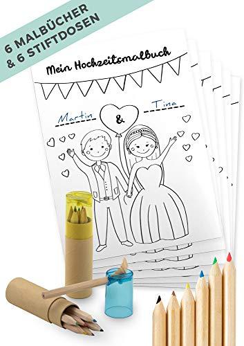 von Rafenstein Hochzeitsmalbuch und Buntstifte mit Spitzer zur Beschäftigung der Kinder auf der Hochzeit. Malbuch Hochzeit mit 28 Seiten als Gastgeschenk, Mitgebsel Kinder-malbuch Deko Gastgeschenke