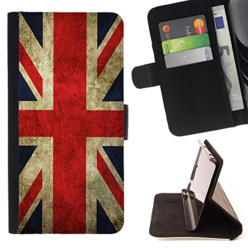 Graphic4You Vintage UK United Kingdom Union Jack Flag Design Thin Wallet Card Holder Leather Case Cover for Apple iPhone 7 Plus/iPhone 8 Plus