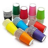 100 Piezas de Vasos de Papel Fiesta de Cumpleaños,Vacaciones Vasos Desechables,Papel Café Té Vasos Desechables sólido Desechables Vasos de Papel para niños DIY Crafts Party Potable(Colores Surtidos)