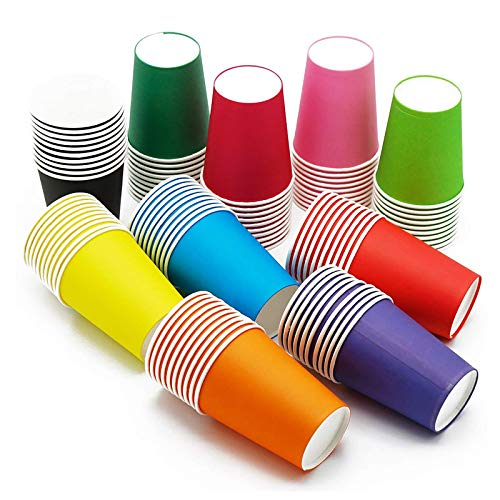 100 bicchieri di carta monouso,per bambini, adatti a creazioni fai da te,Bevande Fredde e Calde, in Cartone, ecologici, per Matrimoni, Compleanni, PIC-nic, Giardino, Feste, grigliate(colori assortiti)