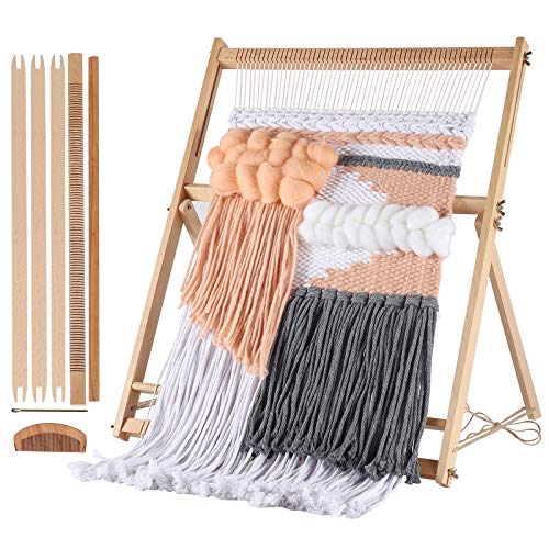 BIZOEPRO Loom Weaving Loom kit 252quotH x 193quotW Weaving Frame Looms with Stand Wooden MultiCraft Tapestry Loom Weaving kit Creative DIY Weaving Arts amp Crafts for Beginner Experts