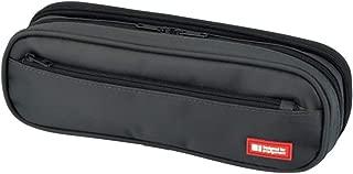 LIHIT LAB. Double Zipper Pen Case, 9.4 x 2.4 x 3 inches, Black (A7557-24)