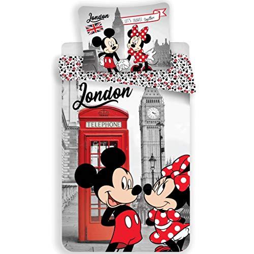 Disney Minnie Mouse London - Juego de funda nórdica y funda de almohada (140 x 200 cm y 60 x 80 cm, algodón), diseño de Minnie Mouse