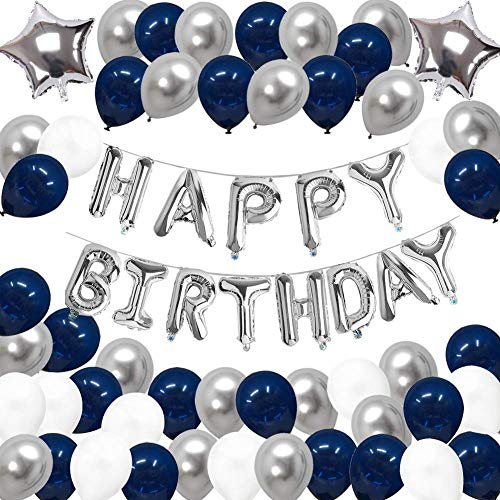 KarleDeal Birthday Decorations Blue Silver and White Party Balloons for Boys Him Men Teens Girls with Happy Birthday Banner Foil Latex Balloons for 13th 16th 18th 21st 25th 30th 40th
