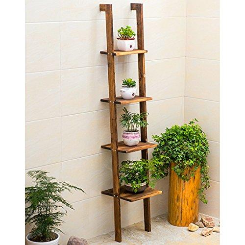 Lampe à fleurs en bois massif trapézoïdal salon balançoire étagère en bois à plusieurs étages étagère en bois (Couleur : 2)