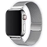 WAAILU Compatible with Apple Watch Band 38mm 40mm 42mm 44mm, Stainless Steel Mesh Sport Wristband Loop Compatible for iWatch Series SE/6/5/4/3/2/1