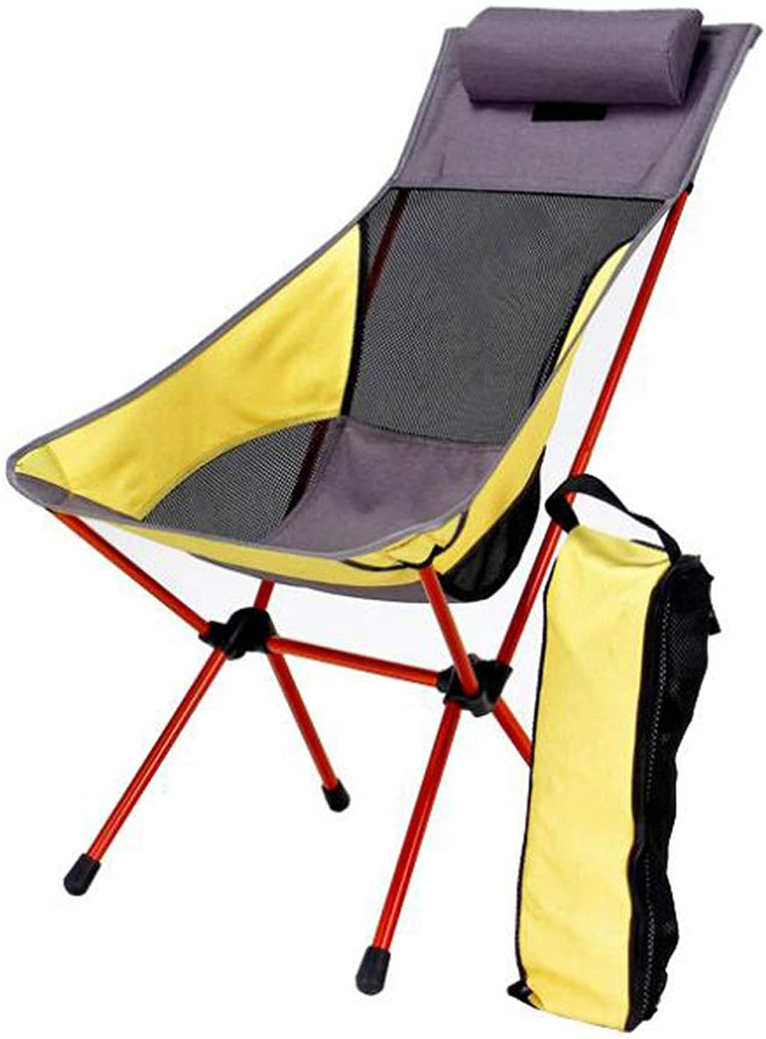 Folding Chair with Pillow Outdoor Moon Chair Leisure Ultra Light Portable Thick Aluminum Alloy High Back Camping Chair