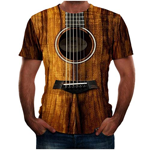 Yowablo T Shirt Sommer Poloshirt Tops Shirts Sommer T-Shirts Oberteile Männer Mode Lustige Gitarre 3D-bedrucktes T-Shirt Coole Sommer-Kurzarm (6XL,1Braun)