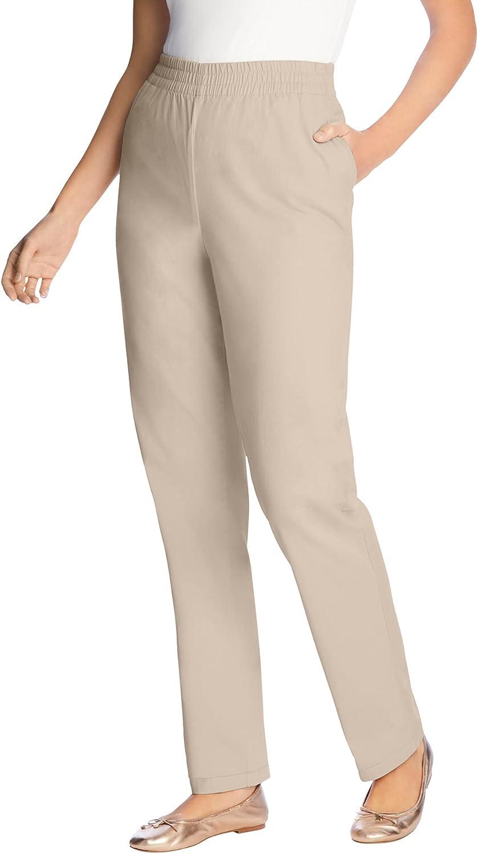 Woman Within Women's Plus Size Petite Elastic-Waist Straight Leg Chino Pant