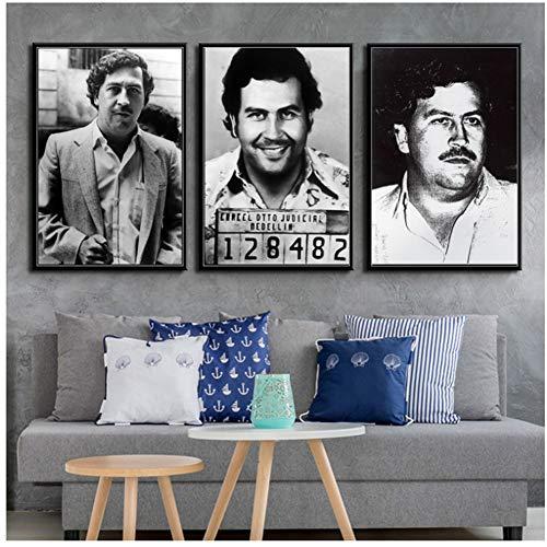 A&D Pablo Escobar Charakter Legende Retro Vintage Poster und Drucke Malerei Wandkunst Leinwand Wandbilder für Wohnzimmer Home Decor-60x80cm3 No Frame