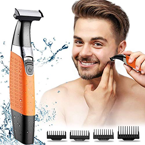 Afeitadoras Eléctricas, Recortador De Barba Para Hombres, Kit De Aseo Impermeable Para Barba Con 4 Peines Guía, Depiladora Corporal Recargable USB, Para Hombres Y Mujeres
