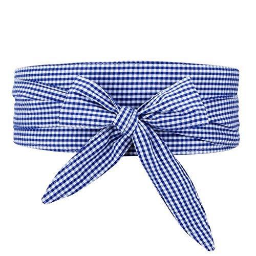 Betrothales Elegante Y Práctico El Cinturón Casual Chic De Regazo Formato De Cuadrícula Tema Carenado Falda Cintura Sellado Tela Pajarita Camisa Corbata Marea (Color : Die Blaue, Size : One Size)