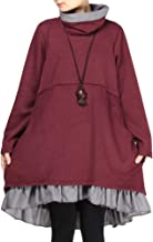 Mordenmiss Women's Flared Layers Dress Hi-Low Ruffle Hem Tunic Top