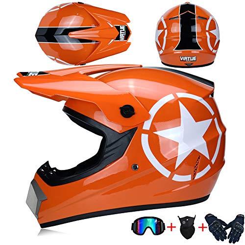 JCLDG Motocross Helmet Adult, Casco Moto Enduro MTB con Gafas/Máscara/Guantes, Casco Cross Quad Off Road ATV Scooter Apto para Adultos y niños, jóvenes Hombres Mujeres