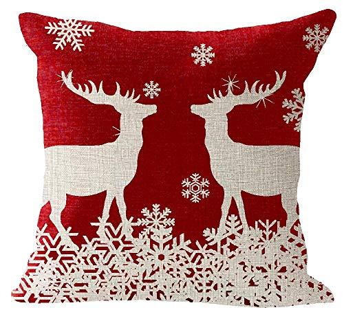 Funda de cojín BorisMotley Happy Invierno Vacaciones, bendición, regalo de Navidad, rojo, animales, ciervo, alce, algodón, lino, cuadrado, funda de almohada, funda de cojín decorativa, funda de cojín para sofá, 45,7 x 45,7 cm