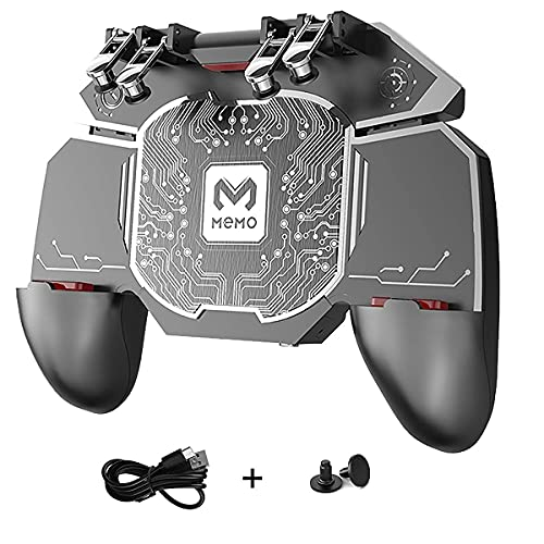 PUBG Mobile Controller Semiconductor Fast Cooling Phone 4 Trigger 6 Finger Operation - L1R1 / L2R2 for iPhone, Samsung, Oneplus, Pixel, Compatible with Call of Duty Mobile/Fortnite, Powered by USB C