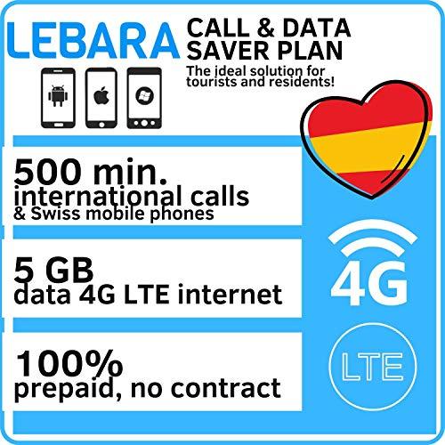 Lebara Prepaid SIM Karte für Spanien mit 5GB Daten und 500 Minuten Nationale und Internationale Gespräche