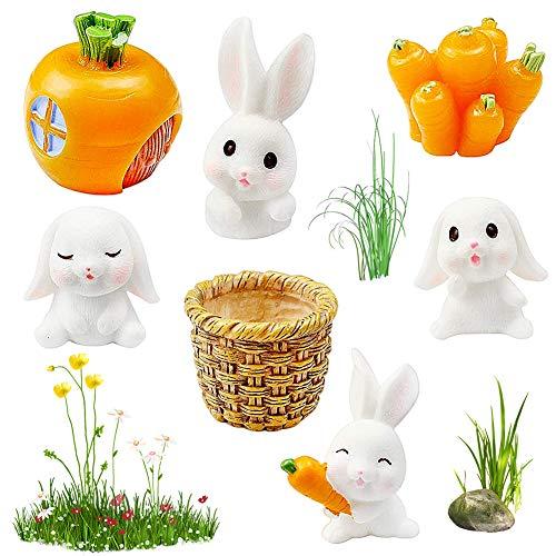 JPYH 7 pcs Figuras de Adornos de jardín de Conejos Conejos Accesorios de jardín de Hadas,Mini Figuras de Conejito de Resina Conejos con Zanahorias para la decoración del jardín del hogar
