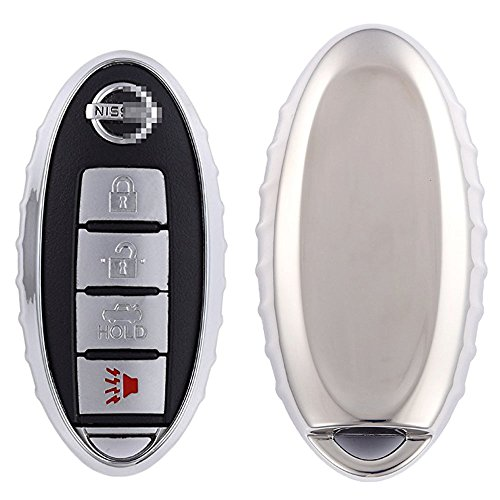 QIAOBA TPU Fall Car Key Soft Plating Protective Shell Case Cover for Nissan (Silver)