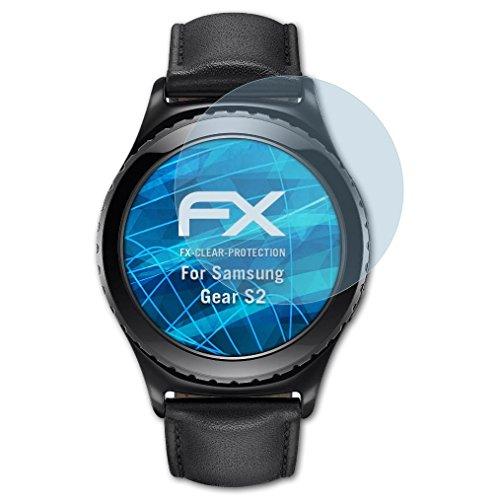 atFoliX Schutzfolie kompatibel mit Samsung Gear S2 Folie, ultraklare FX Bildschirmschutzfolie (3X)