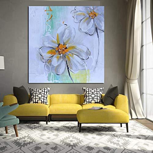 wZUN Pintura al óleo Abstracta de la Flor Blanca en la Lona impresión del Cartel del Arte Pop Moderno Cuadro de la Pared para la decoración del sofá de la Sala de Estar 60x60cm