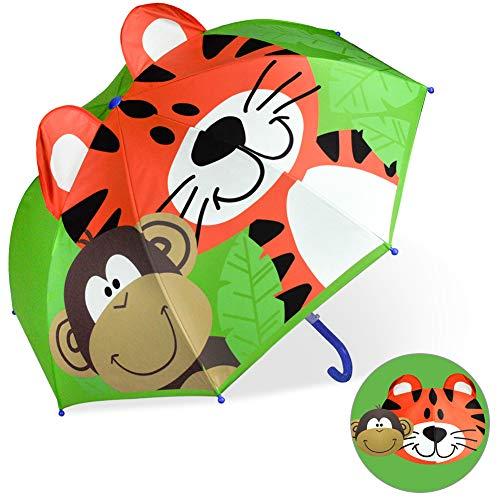 CAPMESSO Kinder Regenschirm Jungen 3D Dome Regenschirme mit Griff Winddichter Stockschirm für Mädchen Jungen Sicherheitsäffnung 3 bis 6 Jahre (Green Leaf Tiger)