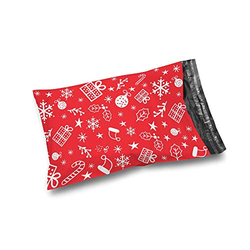 Shop4Mailers 10 x 13 Christmas Gift Cluster Red Holiday Poly Bag Mailer Envelopes 2 Mil (100 Pack, Xmas Gift)