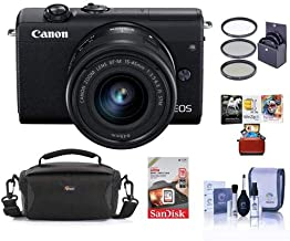 $511 » Canon EOS M200 Mirrorless Camera with EF-M 15-45mm f/3.5-6.3 is STM Lens, Black - Bundle with 49mm Filter Kit, 16GB SDHC Card, Camera Case, Cleaning Kit, Mac Software Package