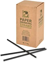"""Earth's Natural Alternative ECOST-D34 Paper Straw 250-count, 7.75"""" Length, 6mm Diameter, Solid Black"""