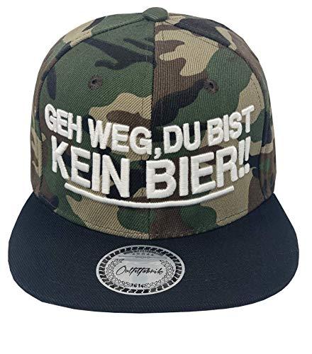 Outfitfabrik Snapback Cap GEH Weg, du bist kein Bier! in schwarz und Camouflage mit 3D-Stick (Sprueche, Geschenk, Statement, Saufen fetzt), für Männer und Frauen, verstellbar