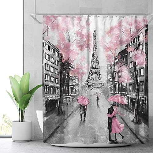 Riyidecor Paris Eiffel Tower Shower Curtain for Bathroom Decor 72Wx72H Inch Vintage French European City Landscape Modern Oil Painting for Women Girl Lover Couple Pink Fabric Waterproof 12 Pack Hooks