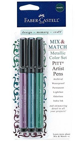 Faber-Castell Metallic PITT Artist Pens - 3 Colored Metallic Colors - Smooth Bullet Nibs (Colored Metallic)