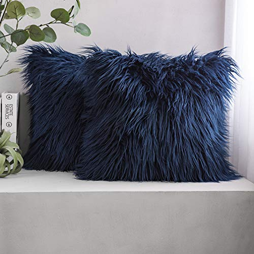 Phantoscope Pack of 2 Faux Fur Throw Pillow Covers Cushion Covers Luxury Soft Decorative Pillowcase Fuzzy Pillow Covers for Bed/Couch,Navy Blue 18 x 18 Inches
