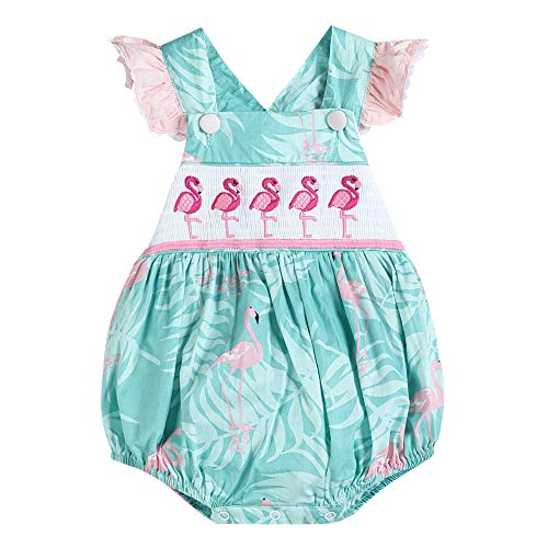 Lil Cactus Baby & Toddler Girls Ruffled One Piece Bubble Romper, Turquoise Flamingo, 2T