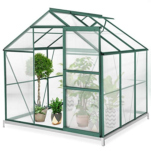 Lovinouse 6 x 6 x 7 FT Large Winter Greenhouse for Outdoors, Walk-in Polycarbonate Green House Kit, Large Hot House Greenhouse for Plants Outdoor (Green)