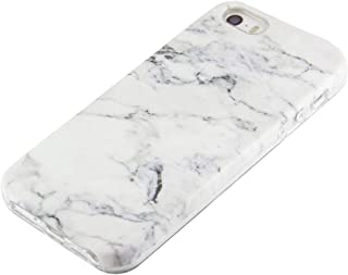 uCOLOR White Marble Case Compatible for iPhone SE 5S 5 Cute Protective Dual-Layer Soft TPU Shockproof Slim Case for iPhone SE 5S 5