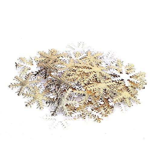 Xinwoer Copos de Nieve para Navidad, 200PCS/Set Decoración de Copo de Nieve de Navidad Tabla de Tela no Tejida Confetti Party Supplies(Blanco)