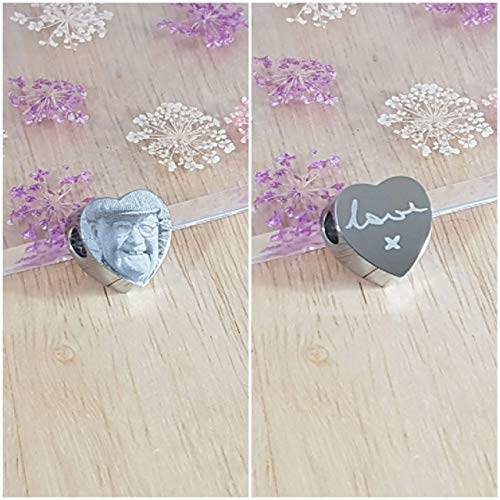 Personalised Memorial Photo Engraved Heart Charm - In Loving Memory, Funeral, RIP, Angel Baby - Fits Pandora Bracelets - Double sided engraving