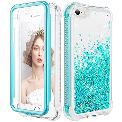 wlooo Cover per iPhone SE 5 5S, Glitter Bling Liquido Corpo Pieno Custodia Sparkly Luccichio TPU Silicone Protettivo Morbido Brillantini Quicksand Ragazze Case con Pellicola Protettiva (alzavola)