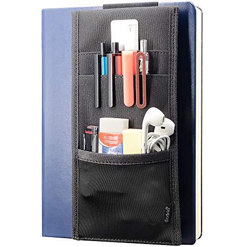 Adjustable Elastic Band Pen Holder, Velcro Pencil Holder, Pen Sleeve Case for Hard Cover Journals, Planners, Notebooks, Books, Binders, Fits Regular & Large Notebooks, Accessory Pocket, Detachable.