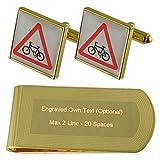 Select Gifts Fahrrad Schild Gold-Manschettenknöpfe Geldscheinklammer Gravur Geschenkset
