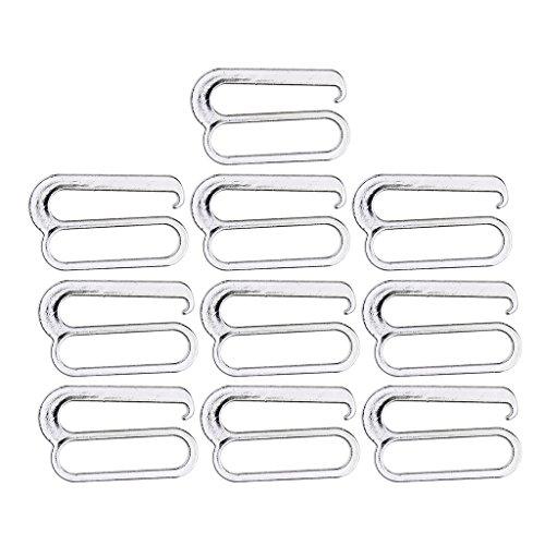 perfk Metall BH-Träger Zubehör Bikiniverschluss BH Clips Verschluss - Silber, 25 mm