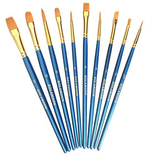 10pcs Artist Nylon Paint Brushes Set for Body, Face, Watercolor, Acrylic...