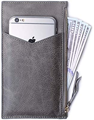 Ultra-Thin Women's Wallet RFID Blocking Leather Credit Card Holder Zipper Purse for Phone