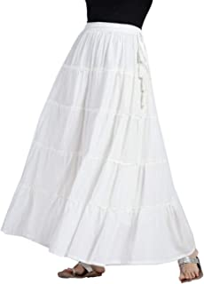 Srishti By FBB Women's Cotton Tiered Skirt with Tie-Up (White, Medium)