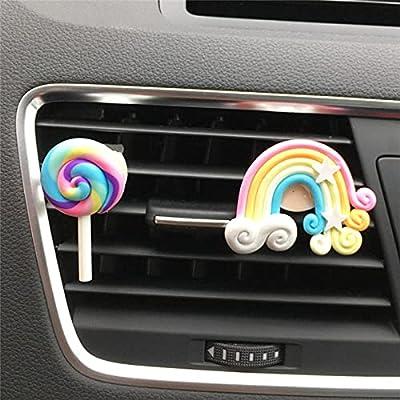 Mignon Arc-en-Lollipop Sortie De Voiture Clip De Parfum De Voiture Désodorisant Baume Auto Intérieur Accessoires pour Fille