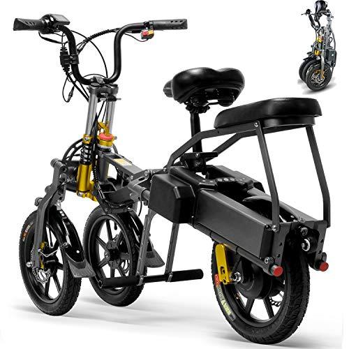 Bicicleta Eléctrica De 3 Ruedas Para Adultos Scooter Eléctrico De Plegable De 350 Vatios Electric Bike Bicycle 48V 14 '' Con 2 Cargador De Batería Rápido Distancia Máxima De Conducción 80 Km,17AH