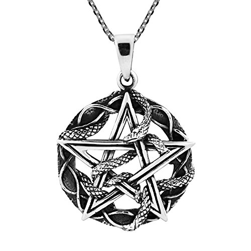 AeraVida Entwined Snake Star Pentagram .925 Sterling Silver Pendant Necklace
