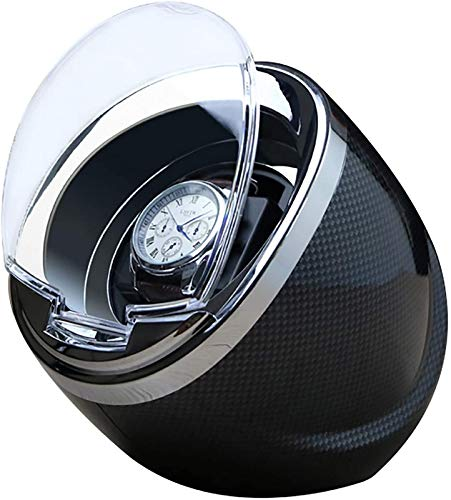 JJDSN Agitador de Reloj automático único Negro Enrollador de Reloj mecánico Dispositivo de bobinado de Motor multifunción Caja de Almacenamiento Redonda Pantalla Caja a Prueba de Polvo Adecuado pa