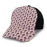 Unisex en blanco lavado de perfil bajo algodón papá sombrero gorra de béisbol influencias victorianas en el arreglo floral púrpura Ancestral floración naturaleza Motivos